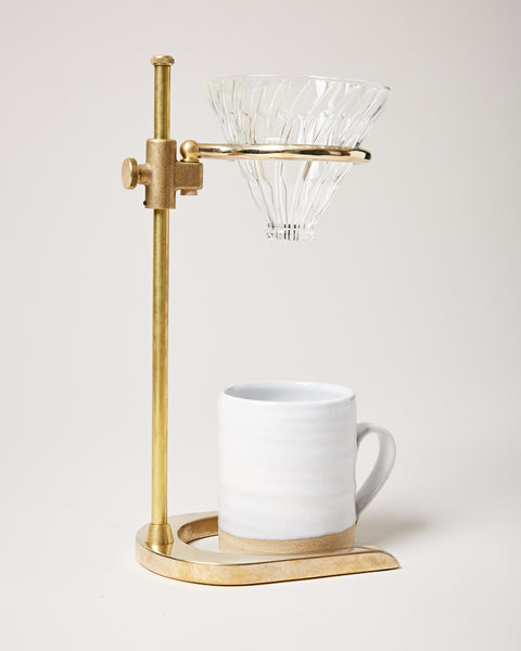 Brass Pour Over Stand side view