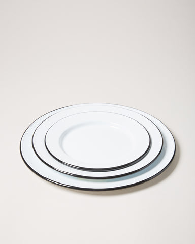Enamel Plates in white with dessert, side, and dinner plate