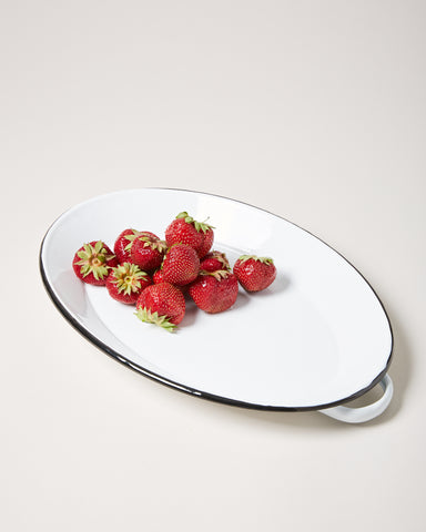 Oval Enamel Tray - White