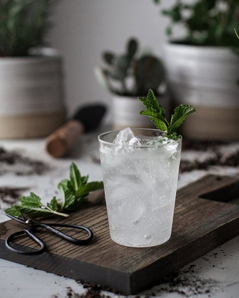 Farmhouse Glass with mint