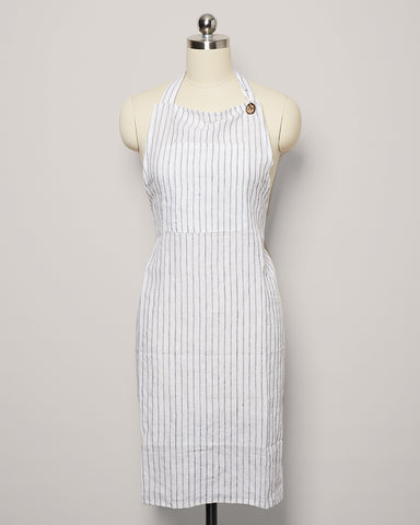 Washed Linen Apron - Stripe