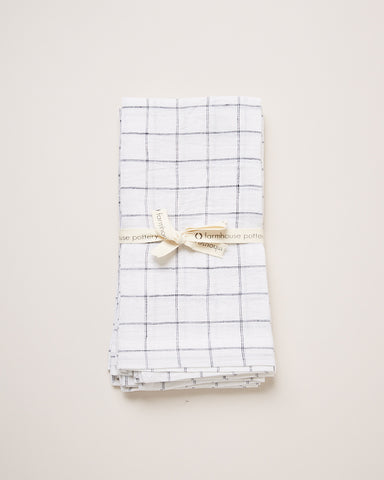 Washed Linen Napkins, 4 pack - Check