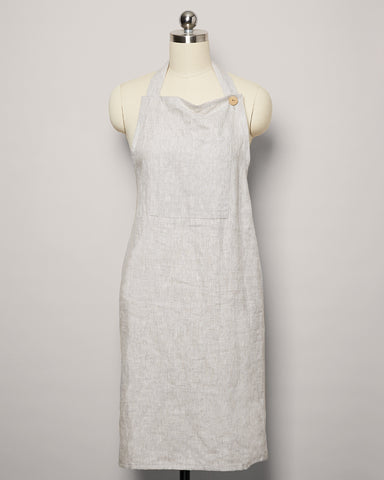 Washed Linen Apron - Stone