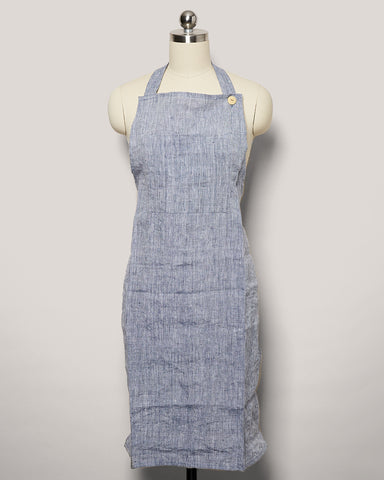 Washed Linen Apron - Indigo