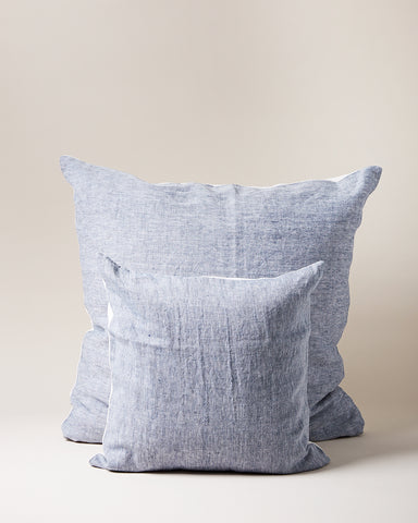 Washed Linen Pillows in indigo