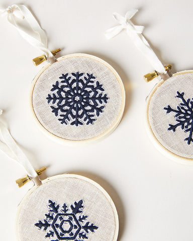 Nordic Embroidered Ornament - Navy