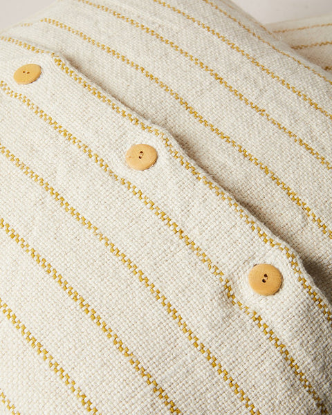 maine weave pillow in ochre close up