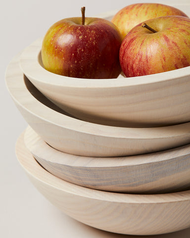 Set of 4 Crafted Wooden Bowls - White