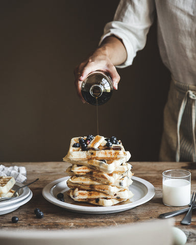 Vermont Maple Syrup with blueberry waffles