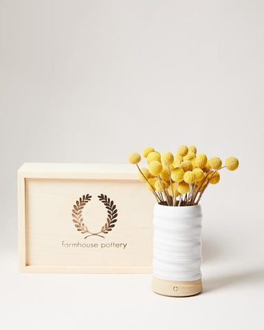Trunk Vase and Billy Button Floral Gift Set - Farmhouse Pottery