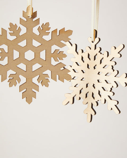 Close up of nordic snowflake ornaments