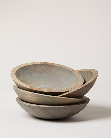 Set of 4 Crafted Wooden Bowls - Grey