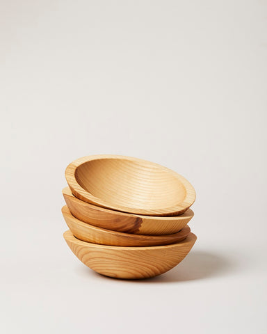 Set of 4 Crafted Wooden Bowls - Natural