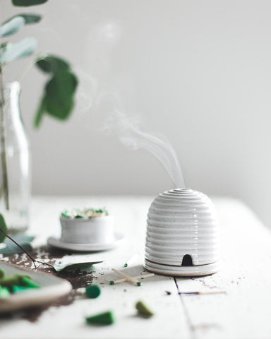 Beehive Burner in white with citronella incense cones