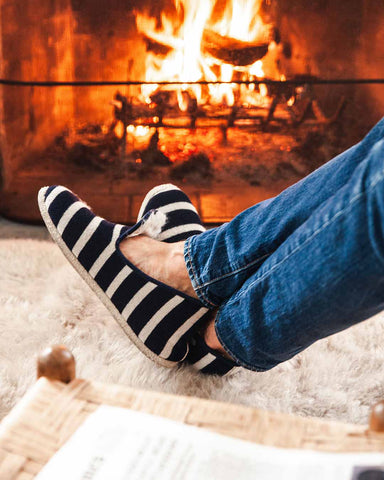 Breton Striped slippers by the fire