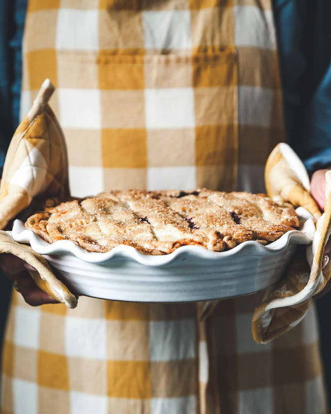 Classic Bakers Pie dish with farmhers gingham potholders
