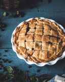 Classic Bakers Pie dish with blueberry pie