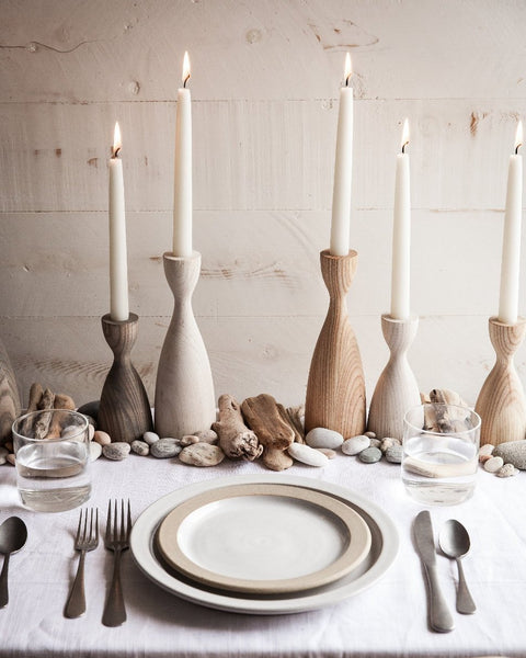 Pantry Candlesticks set on natural tabletop