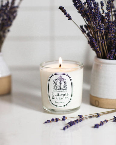 Cultivate and Garden hand-poured lavender candle
