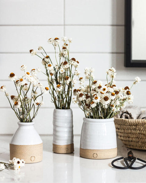 Daisy Vase Sets with mini bottle and daisies, mini trunk vase and daisies, and mini beehive crock with daisies on kitchen counter