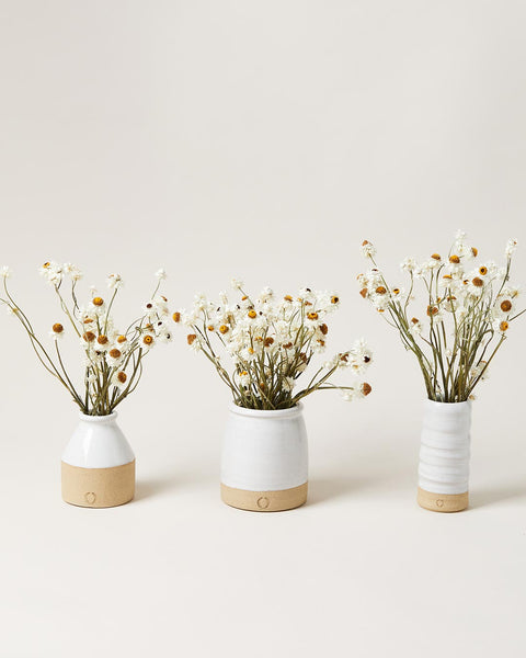 Daisy Vase Sets with mini bottle and daisies, beehive crock mini and daisies, and trunk vase with daisies