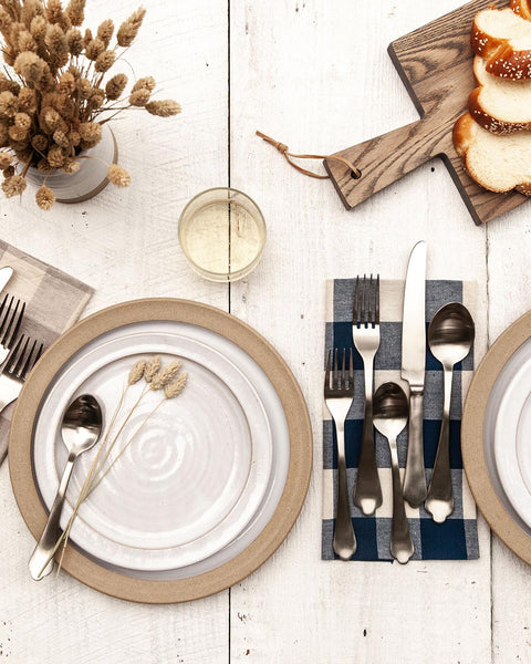 Essex Flatware in silver with gingham napkin and dinnerware