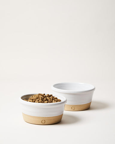 Small Farmhouse Dog Bowl pair with food