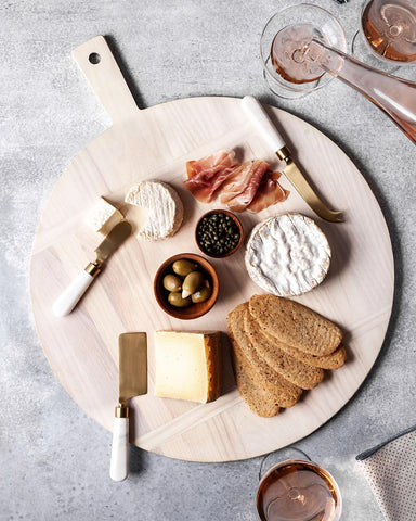 Handcrafted vermont wood board with charcuterie and cheese serving display