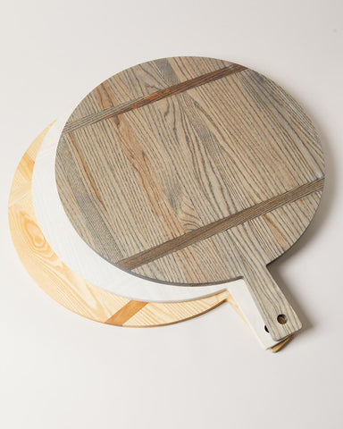 Vermont crafted ash wood boards in gray, natural, and white