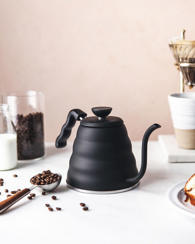 Matte Black Gooseneck Kettle with coffee beans