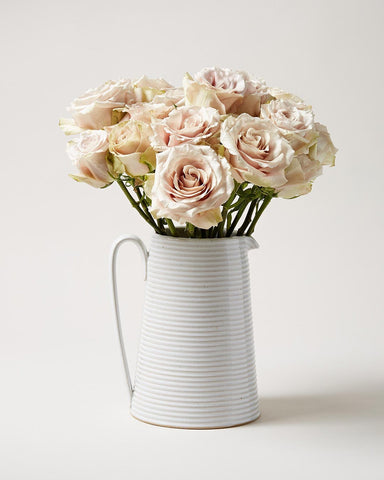 Wheel thrown Hemlock Pitcher with pink roses