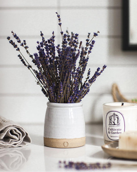 Beehive Crock with lavender on countertop