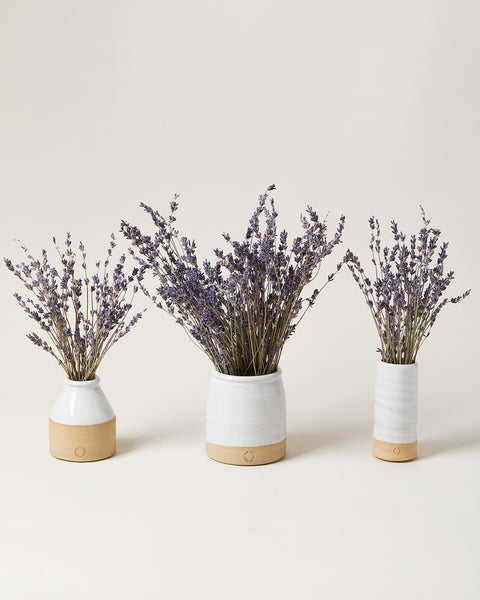 Lavender Vase sets with Mini Bottle and lavender, beehive crock and lavender, mini trunk vase and lavender
