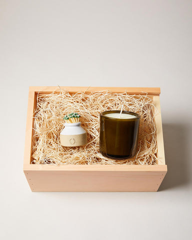 Milk Bottle Match Striker and Fir Candle Gift Set