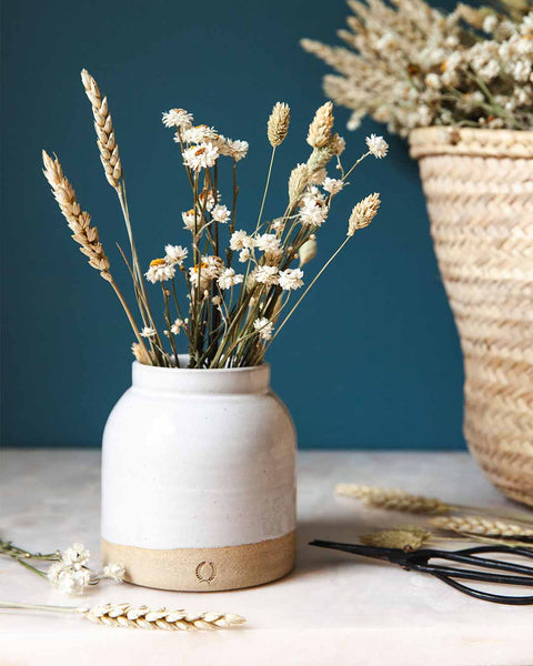 small milk jug vase with dried florals