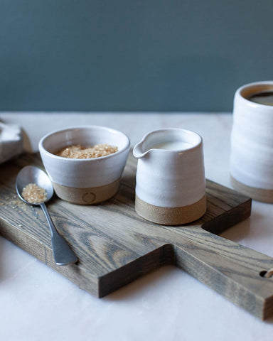 Petite Silo Sugar and Creamer Set on cutting board