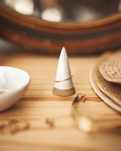 Lifestyle shot of handmade pottery ring cone