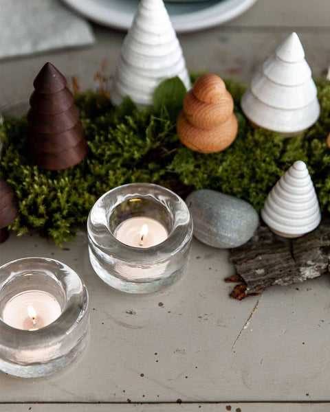 Riverstone Tealight pair in clear with trees