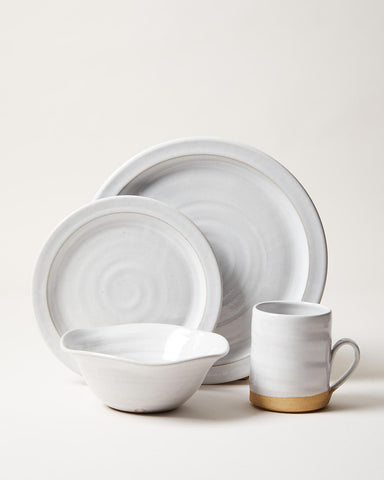 Silo Dinnerware in white, wheel thrown pottery full placesetting