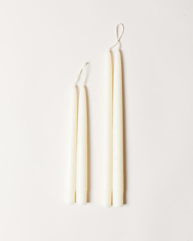 Hand-dipped taper candles in ivory