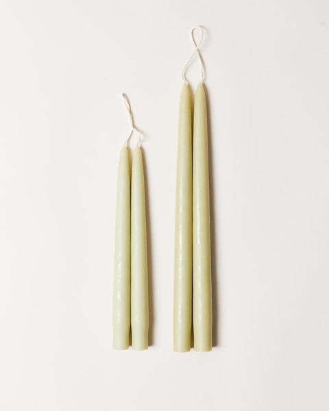 Hand-dipped taper candles in sage