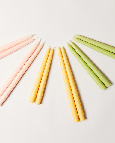 Hand-dipped taper candles in spring summer seasonal colors