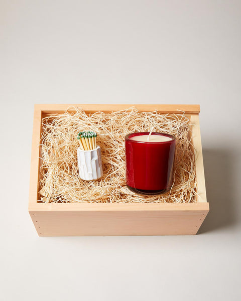 White Log Striker and Wassail Candle Gift Set