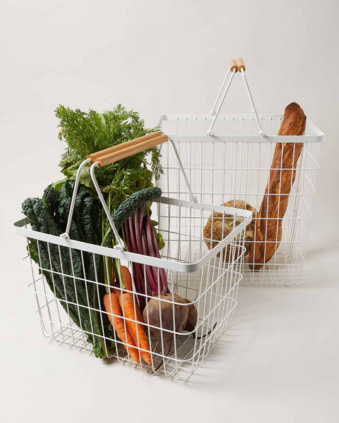 White Wire Baskets with produce