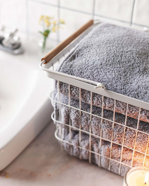 White Wire Basket with towels