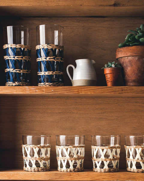 Wrapped Glasses in navy and white on kitchen shelf