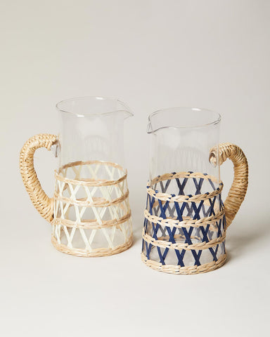 Wrapped pitcher in navy and white