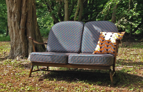 Classic 1960s Ercol Sofa - Upholstered in Wooden Fly