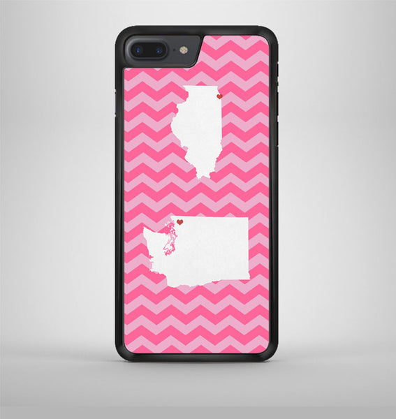 Pink Chevron Double State Love iPhone 7 Plus Case Avallen