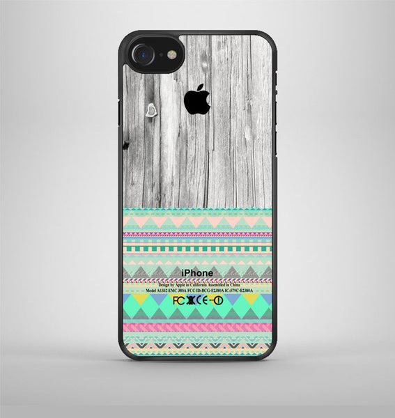 Skin Aztec Geometric Pattern On Wood iPhone 7 Case Avallen